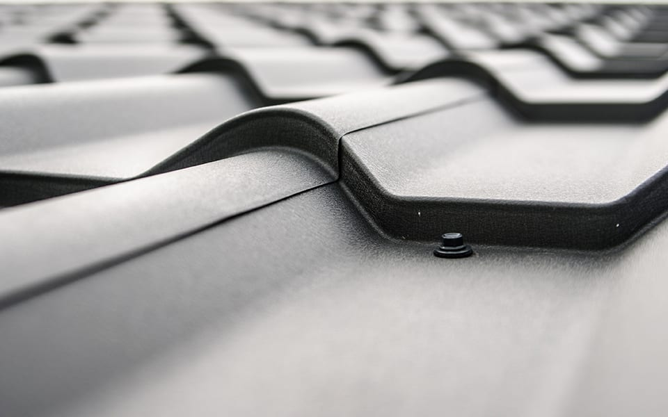 Close up of a metal roof