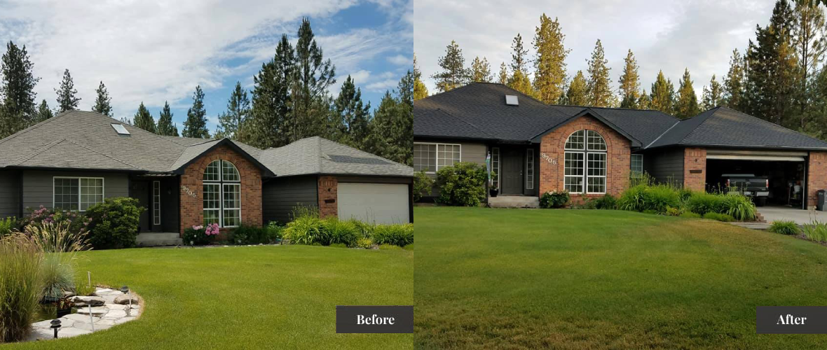 Before and After picture of a house with a new roof