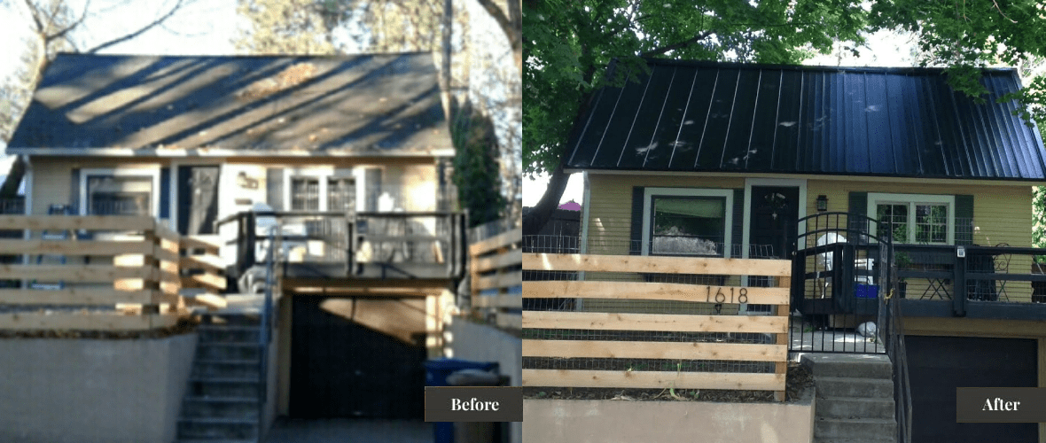 Before and After picture of a house with a new metal roof